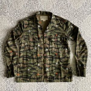 Obey Camouflage Embroidered Button Up Shirt